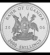 """// 2000 şilingi  pictat  placat cu argint  Uganda  2006 // - Pe această monedă pictată apare gorila de munte  animalul din Africa ameninţat cu dispariţie. Inscripţia monedei """"Protecţia faunei africane"""" ne atrage atenţia asupra acestei specii pe cale de di"""
