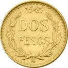 La porunca zeului, 2 peso, aur, Mexic, 1919-1948