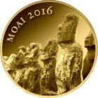 Statui Moai de pe Insula Paştelui, 3000 franci, aur, Republica Ciad, 2016