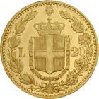 Regele Umberto, 20 lire, aur, Italia, 1879-1897