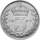 3 pence a Regelui Edward al VII-lea, 3 pence, argint, Marea Britanie, 1902-1910
