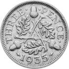 3 pence a Regelui George al V-lea, 3 pence, argint, Marea Britanie, 1927-1936