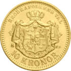 Oscar al II-lea, 10 coroane, aur, Suedia, 1873-1901