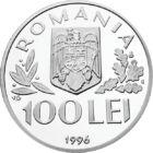 Protejarea copiilor, 100 lei, argint, România, 1996