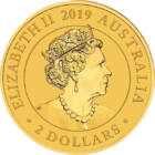 Cel mai mic cangur, 2 AUD, aur, Australia, 2019