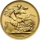 Un înger pe tronul britanic, 1 sovereign, aur, Marea Britanie, 1974-1984