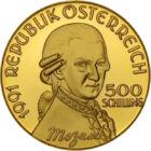 Mozart, principele muzicii, 500 şilingi, aur, Austria, 1991