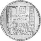 Libertatea cu bonetă frigiană, 10 franci, argint, Franţa, 1929-1939