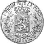Monedele coloniilor , 5 franci, argint, Belgia, 1865-1876