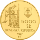 Banská Štiavnica, 5000 coroane, aur de 900/1000, 1997, Slovacia