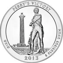 // 25 cenţi, argint de 999/1000, SUA, 2013 // - Moneda de 5 uncii din argint pur este un omagiu adus lui Oliver Hazard Perry, comandant american de navă care, în 1813, a înfrânt o flotă britanică fără să-şi piardă o navă de sub comanda sa. Pentru această