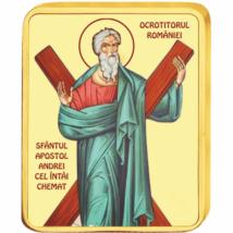 // medalie, Sfântul Apostol Andrei, CuNi placat cu aur, România,  // Sf. Apostol Andrei a fost printre primii ucenici ai lui Hristos. După Pogorârea Sfântului Duh, prin tragere la sorţi, Apostolii au primit teritoriile unde să predice, astfel, Sf. Andrei