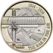 // 2 lire, Aviaţie militară, CuNi, Marea Britanie, 2017 // În Primul Război Mondial, aerul a devenit un mediu de luptă, avioanele arătând o evoluţie spectaculoasă.Părţile beligerante şi-au dat seama că posesia aerului are un rol decisiv în privinţa dezno