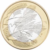 // 5 euro, Fauna şi flora Finlandei pe monede de 5 euro, cupru, nichel, Finlanda, 2014 // Majoritatea emisiunilor comemorative finlandeze prezintă natura, flora şi fauna ţării. Finlandezii consideră, că cea mai importantă comoară este natura, deoarece rep