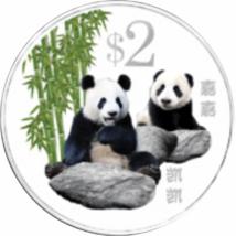 // 2 dolari, Ursul Panda, CuNi, Singapore, 2012 // Ursul panda, pe calea extinţiei, a devenit simbolul speciilor aflate pe cale de dispariţie. China duce o luptă disperată pentru ocrotirea lor, cauză în care se bucură de susţinere globală. Moneda pictată