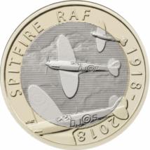 // 2 lire, Spitfire, CuNi, Marea Britanie, 2018 // Mândria Forţei Aeriene Britanice (RAF) a fost Spitfire, unul dintre cele mai eficiente avioane de luptă ale celui de-Al Doilea Război Mondial, câştigătorul războiului aviatic din Anglia. Astăzi, au rămas