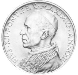 Papa vremurilor grele, 5 lire, argint, Vatican, 1939-1941