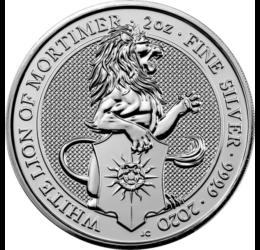 Leul alb lui Mortimer, 5 lire, argint, Marea Britanie, 2020