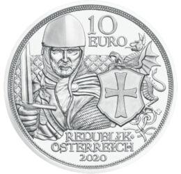 Cavaleri templieri, 10 euro, argint, Austria, 2020, ambalat exclusiv
