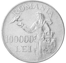 Ultimul argint al lui Mihai I, 100000 lei, argint, România, 1946