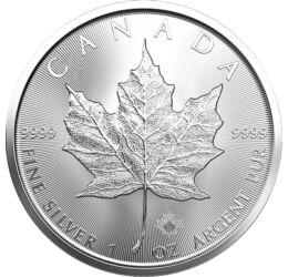 Frunză de jugastru, 5 dolari, 1 uncie argint pur, Canada
