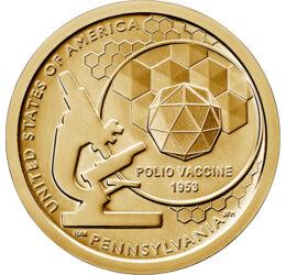 Victorie în lupta cu poliomielita, Inovatori americani - Pennsylvania, 1 dolar, SUA, 2019