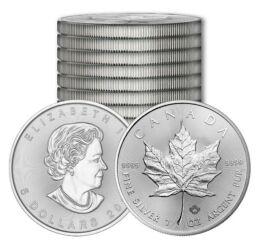 Ofertă de 10 uncii argint pur, 5 monede Cangur + 5 monede Frunză de jugastru