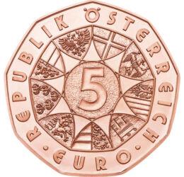 """5 euro,Johann Strauss """"Liliacul"""",2015 Austria"""