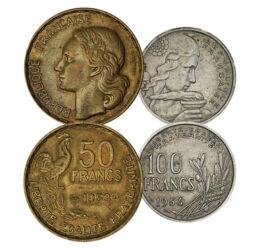 De la franc la centime, 10, 20, 50,100 franci, Franţa, 1950-1959