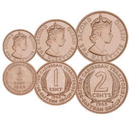 Monedele unei ţări inexistente, 1/2, 1, 2 cenţi, Teritorii britanice din Caraibe, 1955-1965