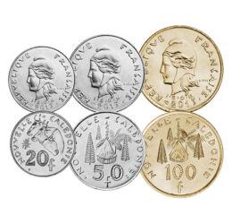1, 2, 5, 10, 20, 50, 100 franci, ,  , , Noua Caledonie, 1972-2013
