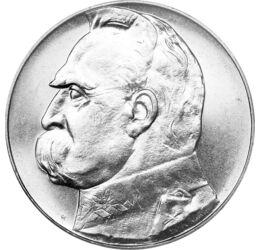 10 zloţi, Mareşalul Jozef Klemens Pilsudski, argint de 750/1000, 22 g, Polonia, 1934-1939