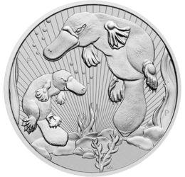 2 dolari, Ornitorinc cu pui, argint de 999,9/1000, 62,2 g, Australia, 2021