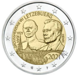 2 euro, Jean şi Henric, Mare Duce de Luxemburg, cupru, nichel, 8,52 g, Luxemburg, 2021