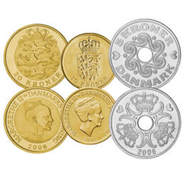 25, 50 öre, 1, 2, 5, 10, 20 coroane, ,  , , Danemarca, 1991-2018