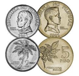 25, 50 sentim, 1, 2, 5 piso, ,  , , Insulele Filipine, 1991-1994