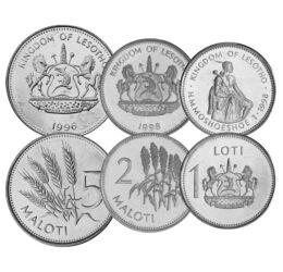 5, 10, 20, 50 lisente, 1, 2, 5 maloti, ,  , , Lesotho, 1996-2018