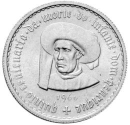 5 escudo, , argint de 650/1000, 7 g, Portugalia, 1960