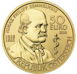 50 euro, Spitalul din Viena, inscripţii, aur de 986/1000, 10,14 g, Austria, 2008