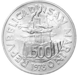 500 lire, Mulţime cu steaguri, argint de 835/1000, 11 g, San Marino, 1978