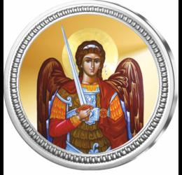 // medalie, Sf. Arhanghel Mihail, argint pur, ,  // Arhanghelul Mihail, ca protector al armatei lui Dumnezeu împotriva forţelor răului, este unul din cei mai cinstiţi dintre îngeri. Medalia pictată îl reprezintă pe Sf. Arhanghel Mihail, sărbătorit în fiec