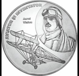 // medalie placată cu argint, Aurel Vlaicu, calitate proof, România,  // Aurel Vlaicu, inginer şi inventator, pionier al aviaţiei române. Între anii 1909-1911 a construit două avioane Vlaicu I şi Vlaicu II, cu al doilea a câştigat cinci premii la mitingul