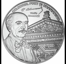 // medalie placată cu argint, Vasile Alecsandri, calitate proof, România,  // Poet, scriitor cu o bogată activitate literară, autor al Pastelurilor al Doinelor şi lăcrămioarelor. A fost creator al teatrului românesc şi a literaturii dramatice în România.