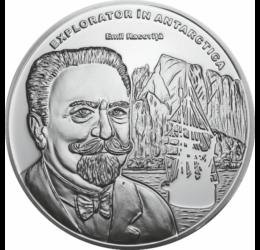 // medalie placată cu argint, Emil Racoviţă, calitate proof, România,  // Biolog român de renume mondial, explorator polar, fondator al biospeologiei şi al primului institut de speologie din lume. În ani 1897-1899, a participat la o expediţie în Antarctid