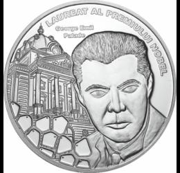 // medalie placată cu argint, George Emil Palade, calitate proof, România,  // George Emil Palade a fost medic şi om de ştiinţă, specialist în domeniul biologiei celulare. În anul 1974 a primit premiul Nobel pentru fiziologie şi medicină, împreună cu alţi