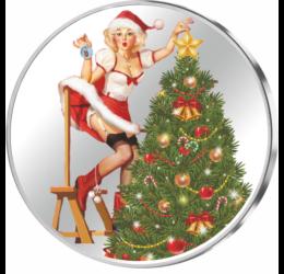 Decembrie, împodobirea pomului de crăciun, argint pur
