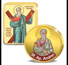 Sfântul Apostol Andrei - Medalie icoană şi monedă pictată, în set