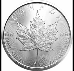 Ofertă de 5 uncii argint! 5 monede de 1 uncie din argint pur Frunză de arţar !
