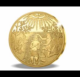 Botezul lui Iisus Hristos, pe monedă istorică din aur