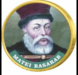 // 50 cenţi, Matei Basarab, monedă, CuNi, UE, 2002-2019 // Matei Basarab a fost domnitor al Ţării Româneşti între anii 1632 şi 1654. Ca protector al vieţii spirituale a românilor, atât a celei religioase cât şi a celei culturale, a ridicat din temelie 46